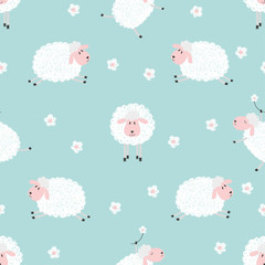 Seamless pattern with cute sheep on blue. Vector background for kids.
