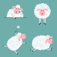 Set of doodle cute sheep for kids design. Vector illustration.