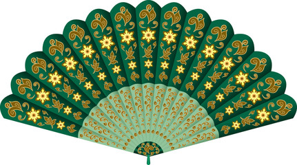 Hand fan with floral pattern