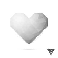 Heart triangular low poly style vector background