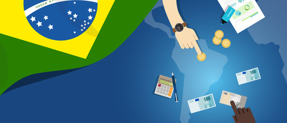 Brazil fiscal money trade concept illustration of financial banking budget with flag map and currency
