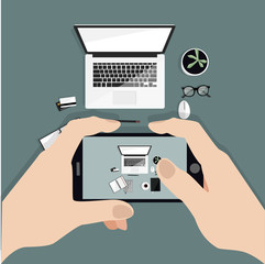 Hands holding phone taking photo of desktop. Instagram blogger. Freelancer. Top view. Flat vector illustration.