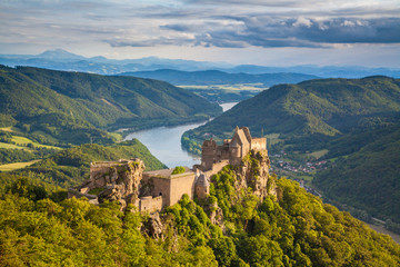 Wachau Valley with Aggstein castle ruin at sunset, Austria
