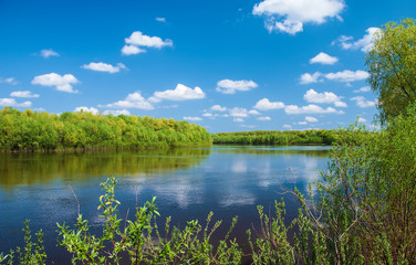 Spring landscape calm flowing river, young forest, blue sky with white clouds and the reflection in the water on a clear day. Ukraine.