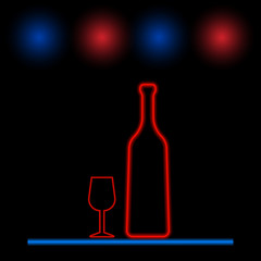 Wine bottle and glass neon light. Vector illustration .