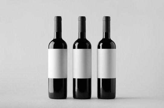 Wine Bottle Mock-Up - Three Bottles. Blank Label