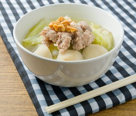 Traditional Chinese Cabbage Soup with Pork and Meat Ball
