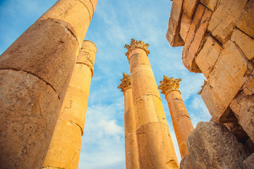 Ancient columns in the city of Jerash, Jordan