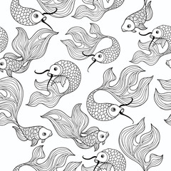 fish seamless pattern. Hand drawn doodle line decorative marine