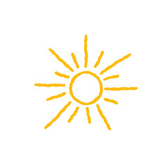 Sun icon isolated over white background. Doodle line art weather illustration