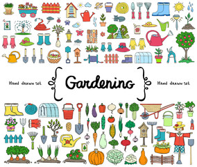 Vector set with hand drawn isolated colored doodles on the  theme of gardening, garden tools, agriculture, harvest