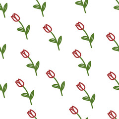 Hand drawn tulips seamless pattern.  Stylish spring wrapping paper. Vector background.