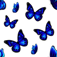 Seamless repetitive background with realistic blue butterflies