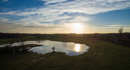 Drone Picture Aerial of a Lake in the English countryside
