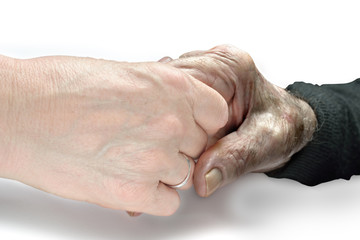 mano tesa ad un povero anziano - mani