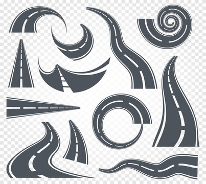 Isolated grey color winding curved road or highway with dividing markings on white background vector illustrations set.
