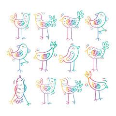 Cartoon birds pattern. Hand drawing illustration.