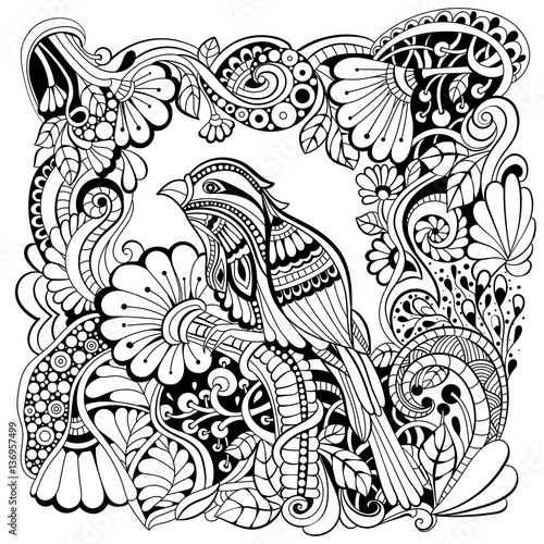 """Bird in fantasy garden. Black and white pattern in a ..."