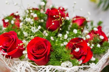 Bouquet of flowers, roses, iris, tulip,