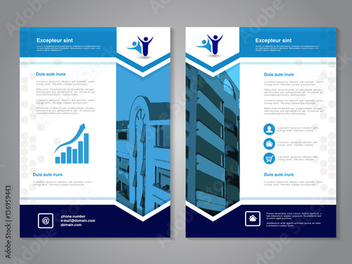 Vector Modern Brochure Abstract Flyer With Background Of Buildings Layout Template Aspect Ratio