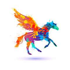 Pegasus vector symbol. Watercolor splash paint