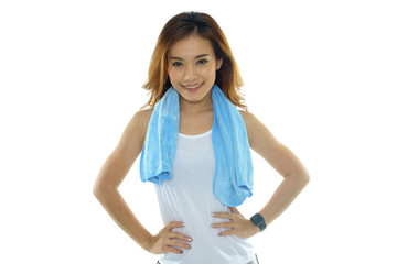 Asian fitness woman with towel around her neck on white backgrou
