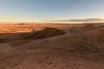 Sunrise in a stone desert, Morocco