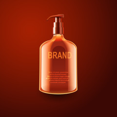 Vector realistic cosmetic bottles with natural elements.