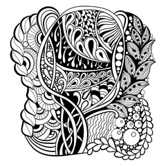 black and white pattern in a zentangle style
