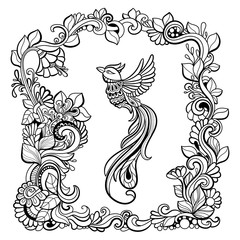 Bird in fantasy garden. Black and white pattern in a zentangle style. Hand-drawn illustration.Coloring book for adult and older children.