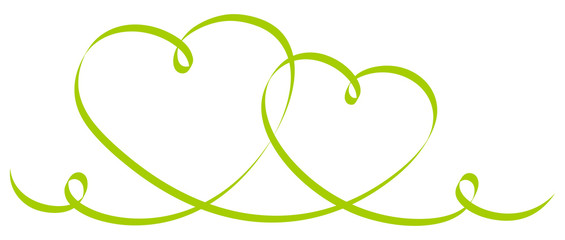 2 Connected Green Calligraphy Hearts