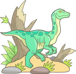 cartoon dinosaur gallimimus went for a walk