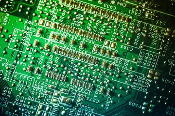 Technology and electronics closeup texture. Circuit board.