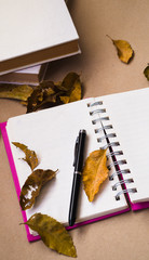Pen and notebook with dried leaves on brown paper
