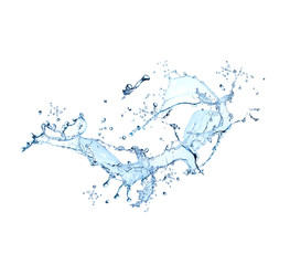 Splash with fruit isolated on white background. Bastract water with fresh fruits.
