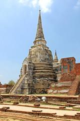 Buddhist temple ruins of Wat Mahathat in Ayutthaya, Thailand.