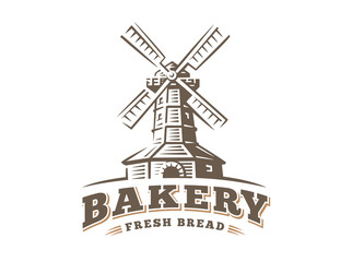 Windmill logo - vector illustration. Bakery emblem design on white background