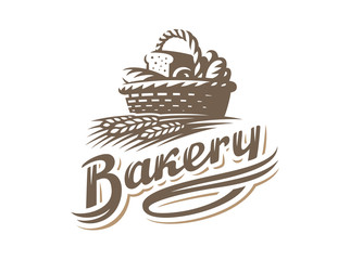 Bread basket logo - vector illustration. Bakery emblem design on white background