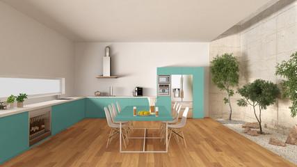 White and turquoise kitchen with inner garden, minimal interior