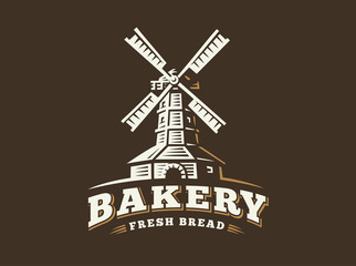 Windmill logo - vector illustration. Bakery emblem design on dark background