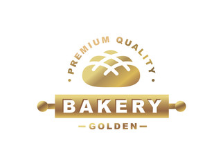 Golden bread logo - vector illustration. Bakery emblem design on white background