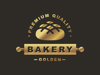 Golden bread logo - vector illustration. Bakery emblem design on black background