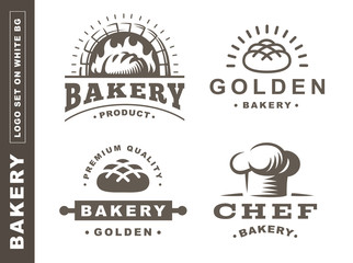 Set bread logo - vector illustration. Bakery emblem design on white background