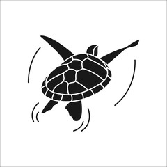 Swimming turtle simple silhouette icon on background