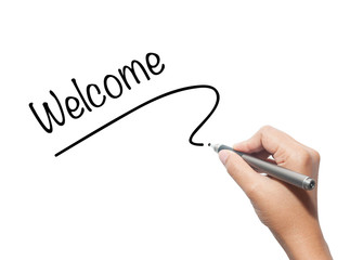 Hand writing welcome isolated on background.