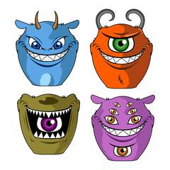 Papiers peints Creatures Set of cute monsters