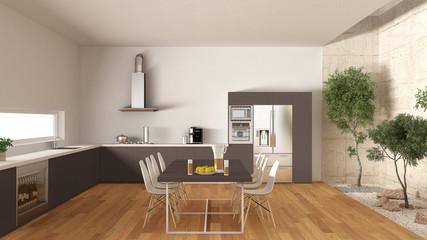 White and brown kitchen with inner garden, minimal interior desi