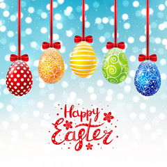 Color Easter eggs on shiny background