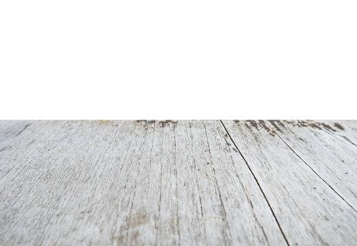 White wood rough table on white scene