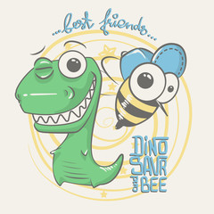 cute dinosaur and bee drawing for baby fashion